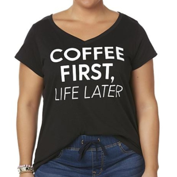 96dff9736 Joe Boxer Tops | Coffee First Life Later Graphic Shirt Junior 1x ...